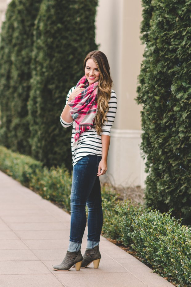 Striped shirt, color splash scarf, jeans, and ankle booties! Women's Fall Fashion!