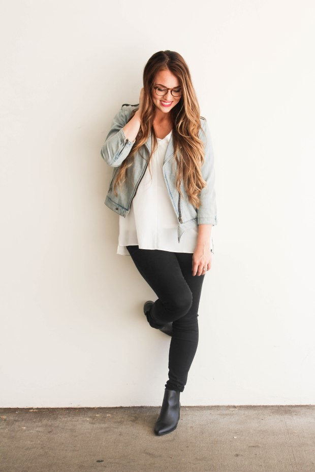 Women's fashion and style. Casual fall outfit with jean jacket. Styling eyeglasses frames too!