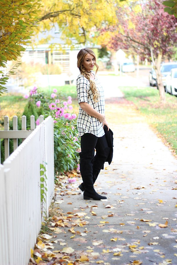 Fall style black and white outfit with thigh high black boots! Maternity friendly fashion. Dressing the bump. 1st trimester clothes!