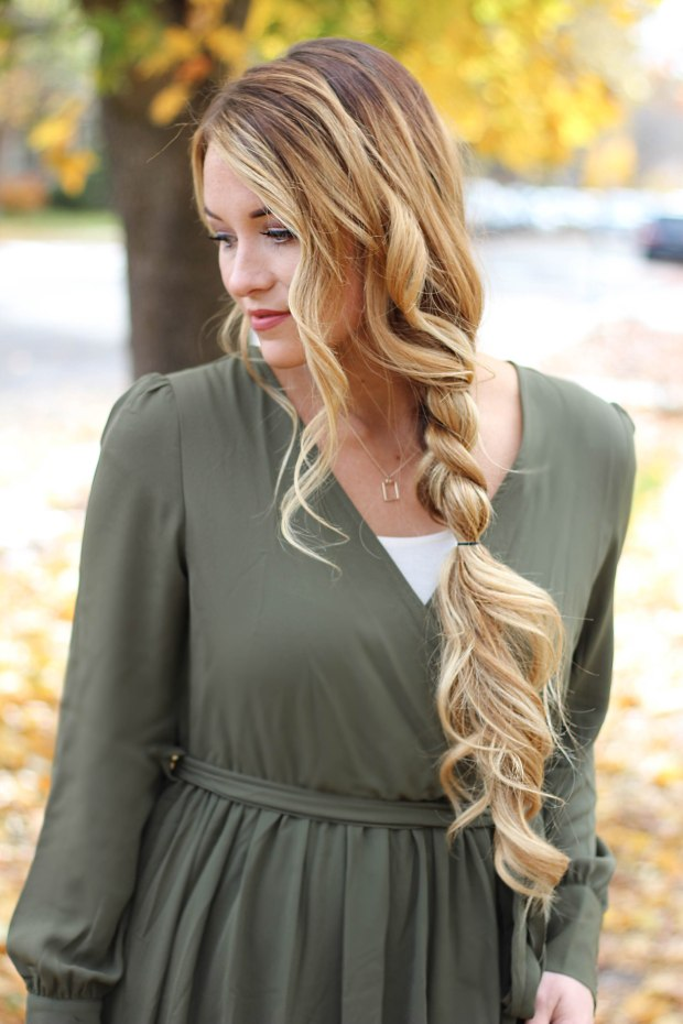 Flowy fall maxi dress from Make Me Chic. Long green dress with thick flowy braid and curls.