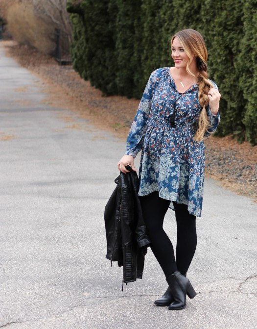 Blue floral maternity dress with comfy black leggings and an edgy leather jacket. I paired this outfit with chunky black booties. Perfect for fall.
